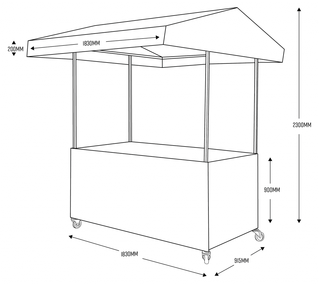 Mobile Food Cart with Dimensions