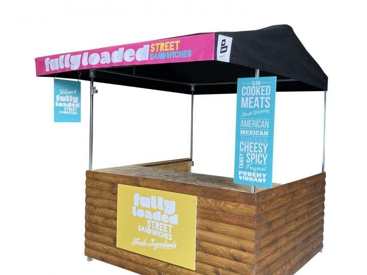 Big kahuna small hut with custom signage for street food