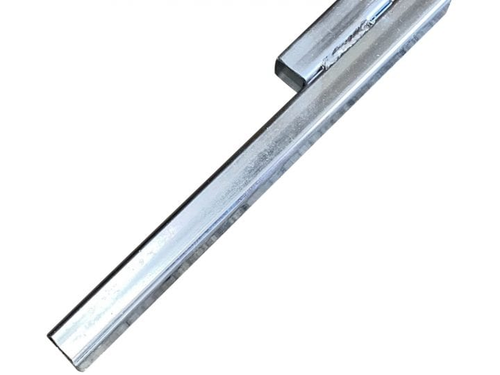 A metal roof riser bar