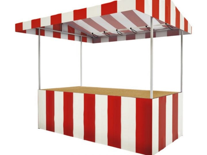 Red and white striped market stall