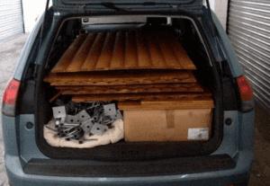 Big kahuna hut flat packed in a car