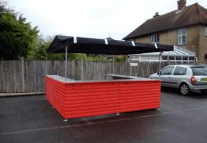 Big kahuna red wood panel hut
