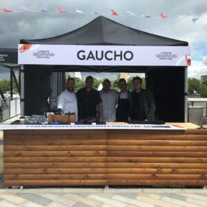 Gaucho Street food Gazebo with five people standing behind the stall