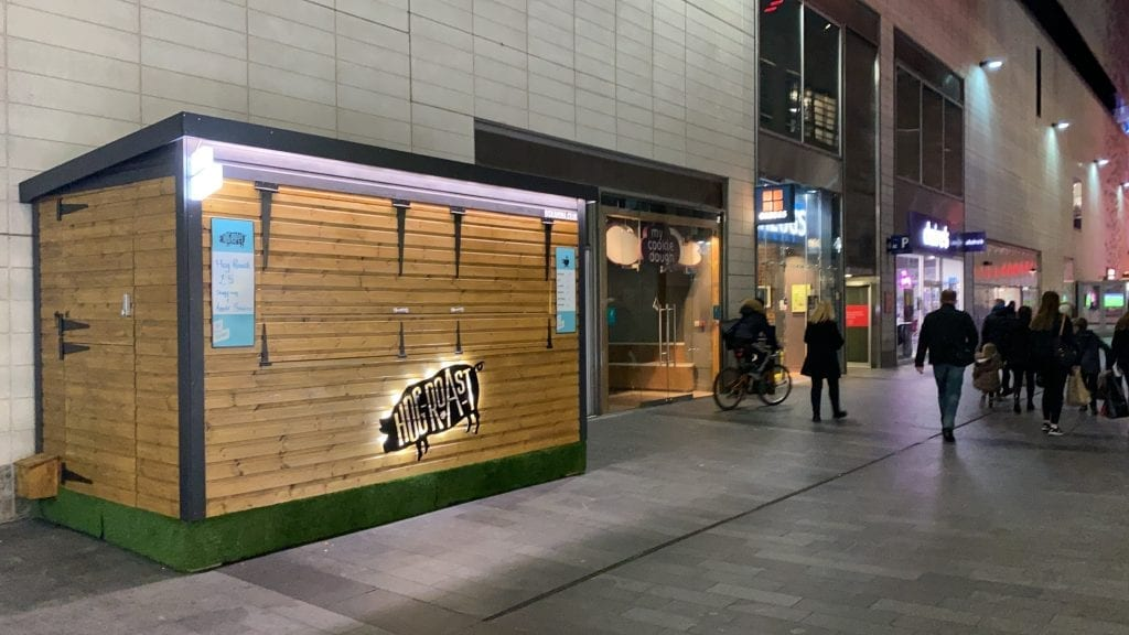 Wooden food kiosk in Liverpool One
