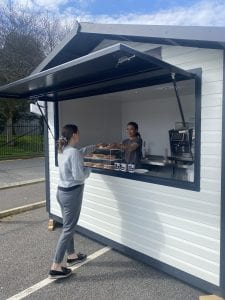 custom grey big kahuna kiosk serving food